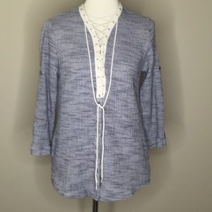 Sol RHR Crinkle Cotton Gray Lace Up Popover Top L